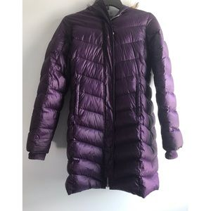 Purple down hooded coat